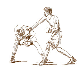 Sketch of Boxing player playing game in vector illustration.