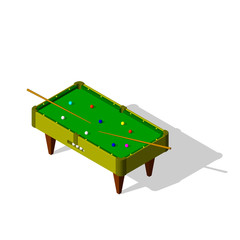 Billiard table.Isolated on white background. Vector illustration.Isometric view.