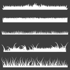 Vector Set of White Grass Silhouettes