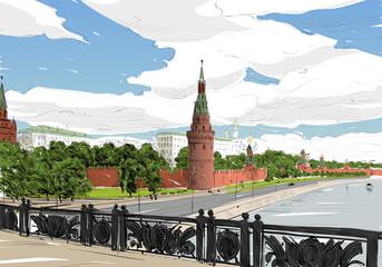 Russia. Moscow. Kremlin. Hand drawn vector illustration.