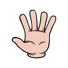 Human cartoon hand showing five fingers