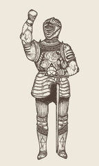 Medieval knight hand drawn vector. Crusader in armor, ancient knight sketch