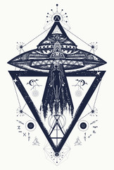 Ufo aliens kidnapped person tattoo art. Paranormal Activity, first contact