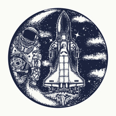 Space shuttle and astronaut tattoo art. Symbol of space travel, study of  universe, flight to new galaxies