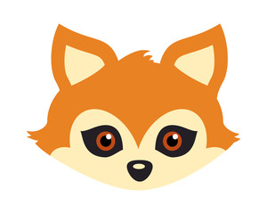 Red Fox with Triangular Ears Carnival Mask. Vector