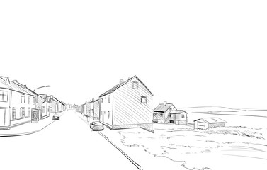 Norway village sketch hand drawn. Northern landscape fjord vector illustration