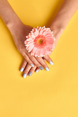 Fototapete - Beautiful pale blue manicure with rhinestones.