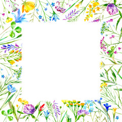 Floral frame of a wild flowers and herbs on a white background.Buttercup,cornflower,clover,bluebell,forget-me-not,vetch,timothy grass,lobelia,snowdrop flowers.Watercolor hand drawn illustration.