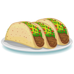 Vector Illustration of Three Tacos on Plate