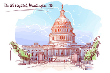 Front view of the US Capitol Building. Cityscape, urban hand drawing. Painted Sketch. Watercolor feel. Editable EPS10 vector illustration.