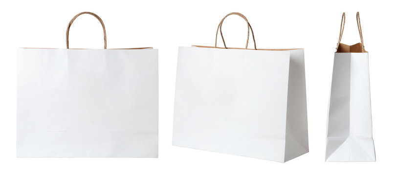 White paper shopping bags isolated on white background
