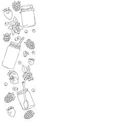 vector white black contour line pattern of berries and jars