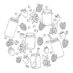 vector white black contour circle pattern of berries and jars