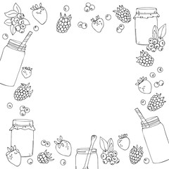 vector white black contour square pattern of berries and jars