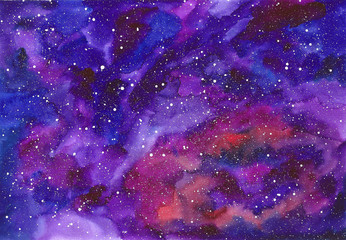 Space abstract hand painted watercolor background. Texture of night sky.