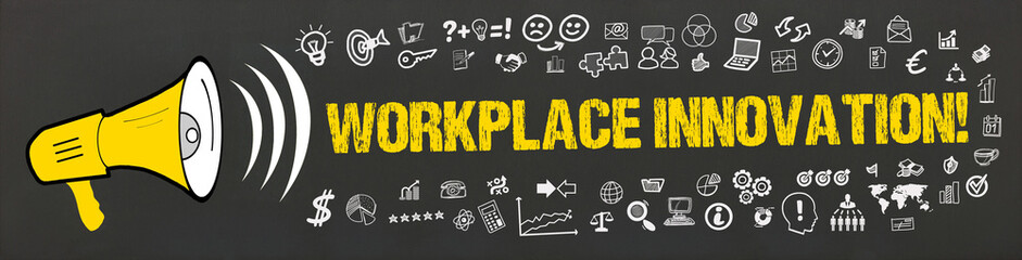 Workplace Innovation! / Megafon mit Symbole