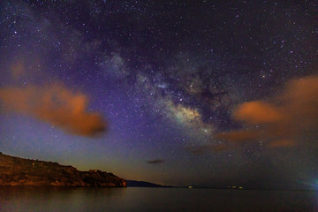 Milky way with sea in kargi beach in Datca, Mugla, Turkey