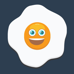 Fried egg with emoji. Flat and solid color design.