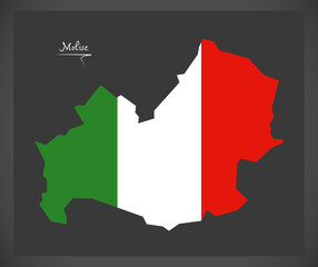Molise map with Italian national flag illustration