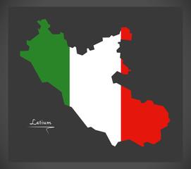 Latium map with Italian national flag illustration