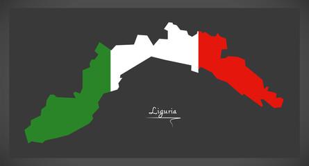 Liguria map with Italian national flag illustration