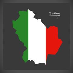 Basilicata map with Italian national flag illustration
