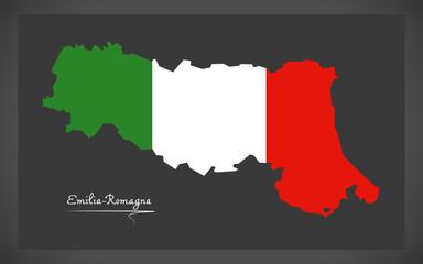 Emilia-Romagna map with Italian national flag illustration