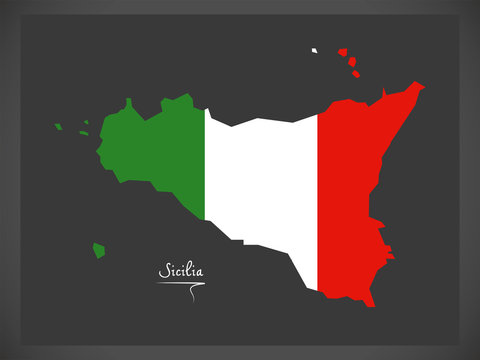 Sicilia map with Italian national flag illustration