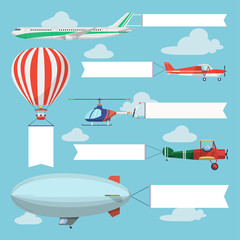 Flying planes, helicopter and airship pulling advertising banner