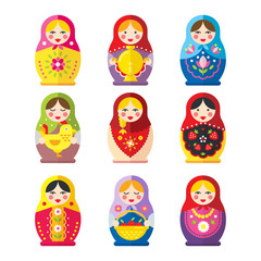 Matryoshka or babushka dolls vector set  in a flat style