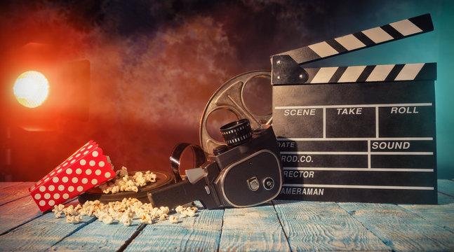 Retro film production accessories still life.