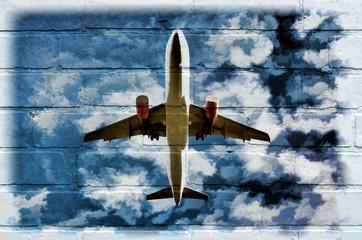 Street art, un avion dans le ciel