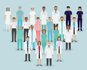 Medical team. Group doctors, nurses and paramedics. Medicine banner. Hospital staff.