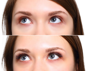 Eyelash Extension. Comparison of female eyes before and after.