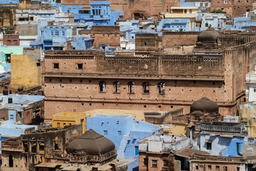 View from above of typical colored houses and ancient building, Bundi, Rajasthan, India