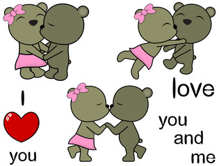 lovely cute teddy bear cartoon love set in vector format