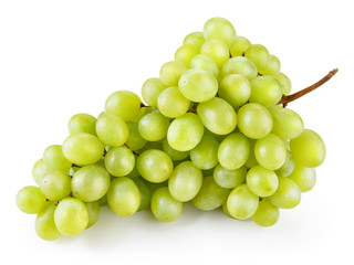 Green grape. Bunch of fresh berries isolated on white. With clipping path. Full depth of field.