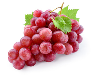 Fototapete - Ripe red wet grape with drops. Pink bunch with leaves isolated on white. With clipping path. Full depth of field.