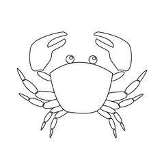 Contour image of crab isolated on white background.