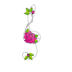 Hand drawn beautiful Treble clef with rose.