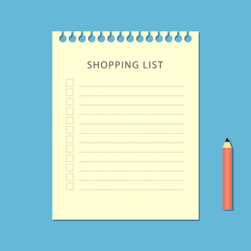 Flat shopping list and pencil on blue background
