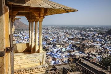 Panoramic view from Bundi Palace over Bundi, Rajasthan, India