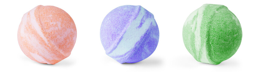 Single bath bomb, isolated on the white set