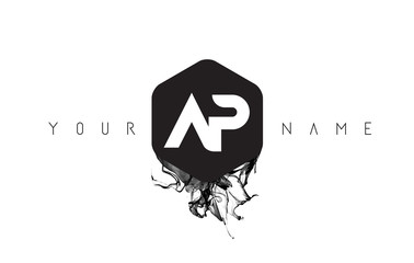AP Letter Logo Design with Black Ink Spill