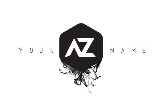 AZ Letter Logo Design with Black Ink Spill