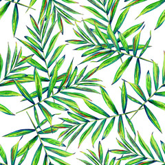 Seamless floral pattern with beautiful watercolor palm leaves. Jungle foliage on white background. Textile design.