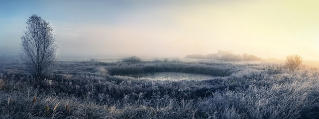 Dawn in autumn River floodplain. Grass and lake covered with hoarfrost.