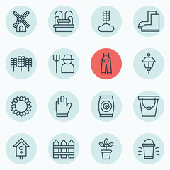 Set Of 16 Holticulture Icons. Includes Pail, Barrier, Mill And Other Symbols. Beautiful Design Elements.