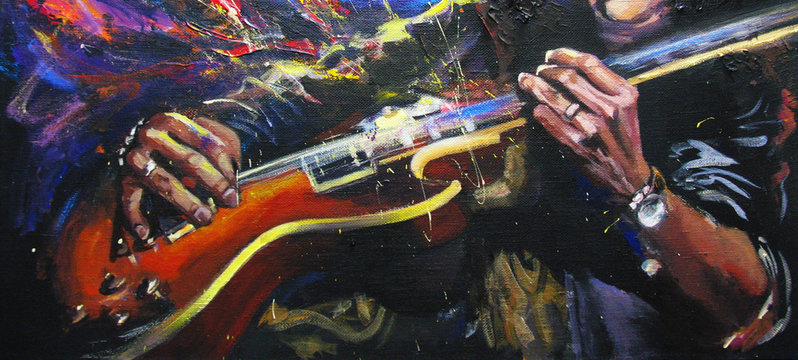 Rock guitarists hands, playing guitar, with multicolored fantasy background,  in bright colors. Original artwork in acrylic on canvas