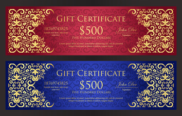 Luxury red and blue gift certificate with vintage golden ornament pattern